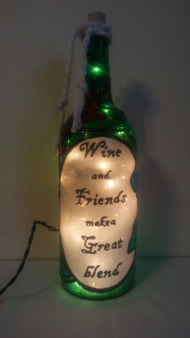 Wine and Friends Friends Friends Wine Bottle Lamp Handpainted Lighted Stained Glass Look e6561e