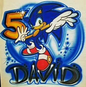 Custom Airbrushed Sonic The Hedgehog Shirt W Name Sizes 6 Months Adult 5xl Ebay