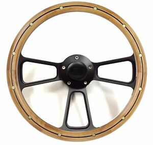 Compatible with 1970-1977 F-Series Truck 14 Mahogany Burn Wood Black Steering Wheel Set Adapter /& Horn