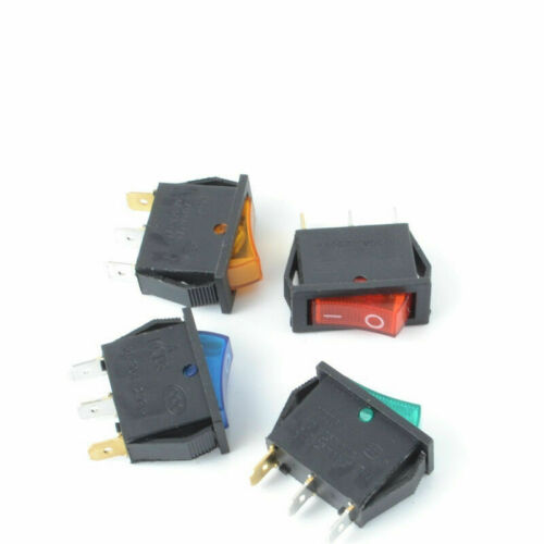 KCD3 2 Position 3 Pins Rectangle ON//OFF LED Lamp Rocker Switch 16A 250V AC