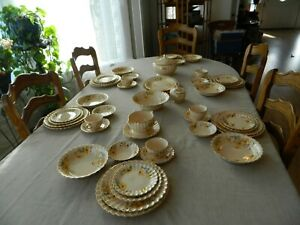 Golden-Ware-By-Sebring-22-ct-Gold-Trim-Yellow-Daisies-Dinnerware-Set-for-6-10-5