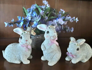 """Spring Bunnies White Easter Bunny Figurines Floral Rabbit 7""""H Set of 3"""