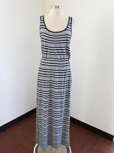 c99fe829915 Vineyard Vines Navy Blue White Striped Maxi Dress Size S Sleeveless ...