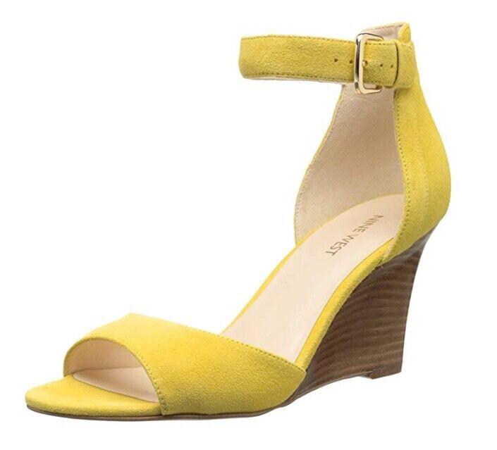 Nine West Farlee Farlee Farlee SUEDE Ankle Strap WEDGE HEEL Sandal 7M rosa or giallo 30b4f9