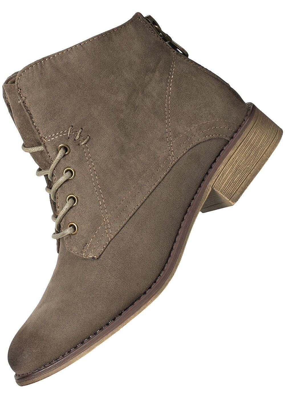 50% OFF B17084390 Damen Hailys Boots Schnüren Wildlederoptik Zipper hinten taupe
