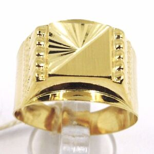 Gelbgold-Ring-750-18K-Herren-Quadrat-Matt-Und-Gehaemmert-Italien-Made