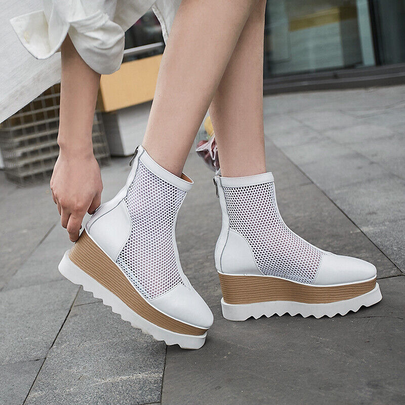 Leather Sandals Boots Women's Plateau-Sole shoes High-top Mesh shoes New Fashion