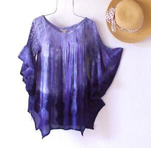 New~Blue Peasant Blouse Shirt Ruffle Cotton Crochet Lace Boho Top~Size Large L