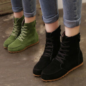 7f6657fd7f03 Fashion Women Flat Ankle Snow Motorcycle Boots Female Suede Leather ...