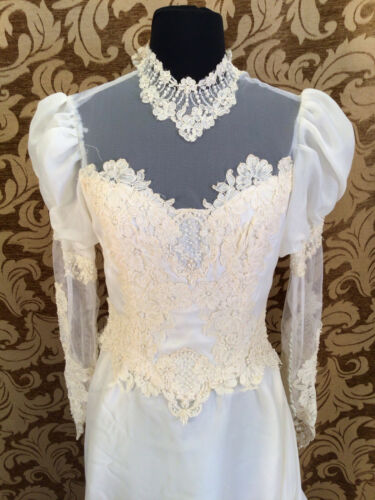 True Vintage 1979 1980s Lace Accented Wedding Gown