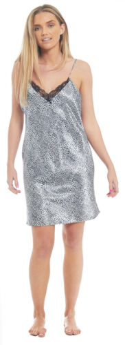 Satin Chemise Nightie Grey Leopard Animal Print Ladies Silky Feel Nightdress