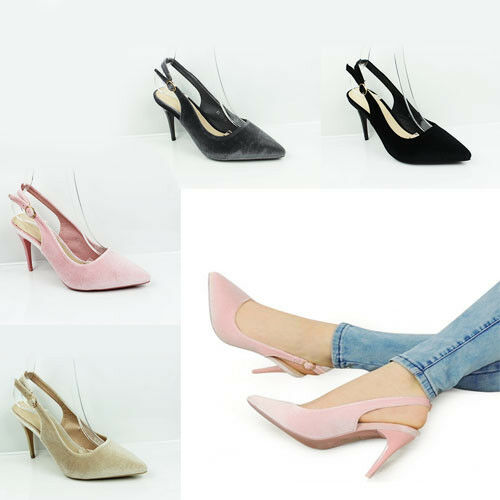 New Womens Mid Heel Sandals Pointed Toe Comfy Slingback Smart Shoes Sizes 3-8