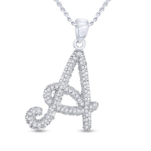 10kt or Blanc Pour Femme Ronde Diamant Cursive Lettre Pendentif 1//6 cttw