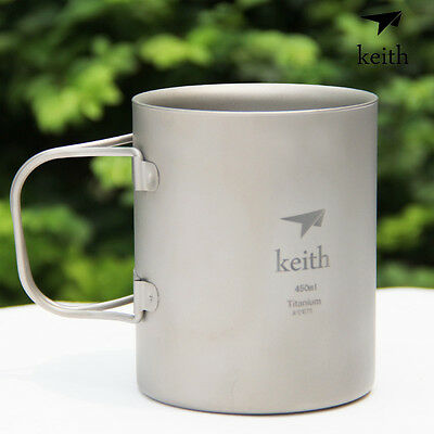 Keith Titanium Double-Wall Water Cup Coffee Mug Camping Lockable Grip W/ Lid