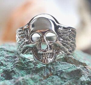 Totenkopf-Silberring-57-59-61-65-Breit-2cm-Skull-Silber-Ring-Adler-Fluegel-Massiv