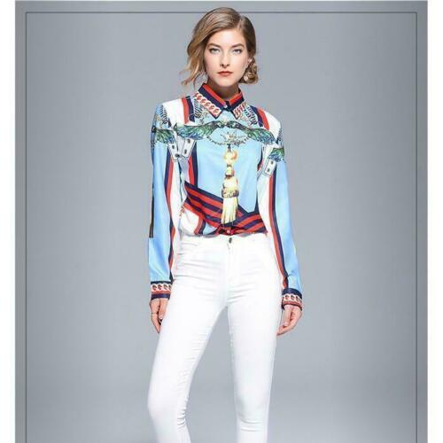 Floral Printed Long-sleeved Shirt Women's Occident Fashion Slim Shirts OL Blouse
