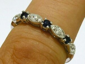 R103-Genuine-9K-WHITE-Gold-NATURAL-DIAMOND-Sapphire-Eternity-Ring-size-M