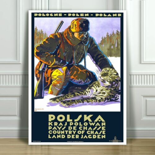 VINTAGE TRAVEL CANVAS ART PRINT POSTER Hunting in Poland 24x18""