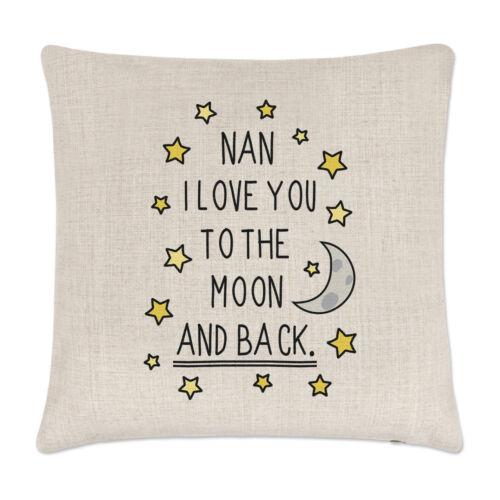 Nan I Love You to the Moon Et Arrière Housse de Coussin Oreiller-Drôle Grand-mère