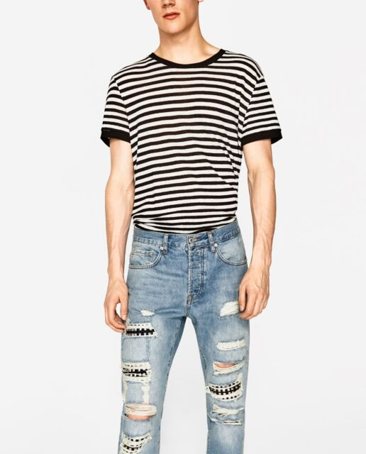 8272d95e Zara Ripped, carrot fit jeans with studs W31 100% cotton | eBay