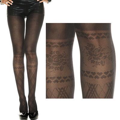 Women S Faux Knee High Black Stockings Rose Heart Fishnet Tights Full Pantyhose Ebay