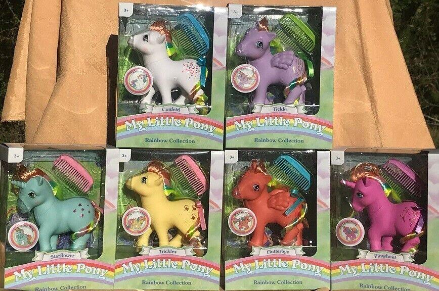 My klein Pony Classic Rainbow Pony  PINWHEEL  SternFLOWER Set of 6 MIB, MIP