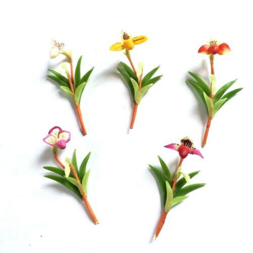 5 x Lady Slipper Orchid Mini Clay Flowers Plant Miniature Dollhouse Fairy Decor
