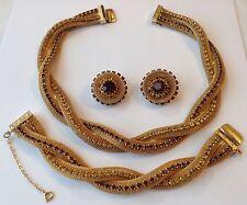 HOBE SIGNED GOLDEN YELLOW AND TOPAZ RHINESTONE MESH NECKLACE BRACELET & EARRINGS