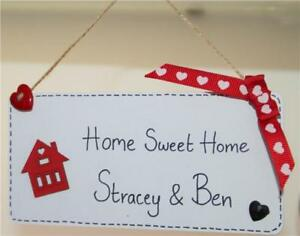 Home Sweet Home Personalised New House Warming Sign Plaque Wooden Gift Names D3