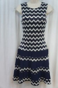 ddfb51dbd9b4 Betsy & Adam Dress Sz 6 Navy Blue Silver Sleeveless A Line Cocktail ...