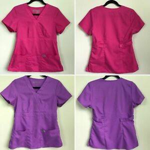 d905b057c6c29 Details about Grey's Anatomy Purple Pink Scrub Tops Shirt Size Small S  Nurse Doctor Soft Barco