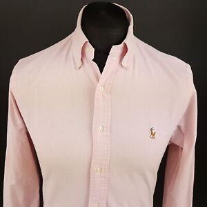 Ralph-Lauren-Homme-Oxford-Chemise-petites-manches-longues-rose-slim-No-Pattern-Cotton