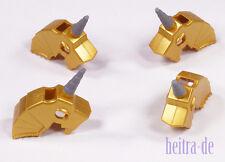 LEGO - 4 x Pferde - Helm Metallic Gold mit Horn / Einhorn Unicorn 89524 NEUWARE