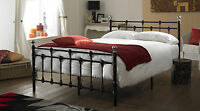 Oxford Double 4ft6 Metal Bed In Black With Double 10 Inch Memory Foam Mattress