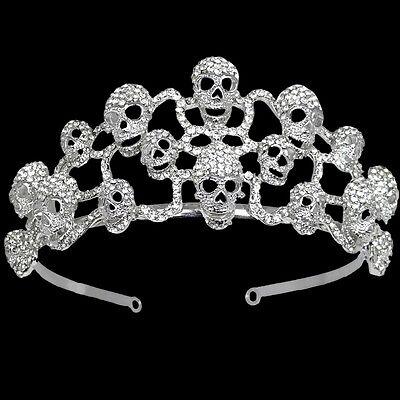 Skull Skeleton Hair Headband Tiara Crown Multi Austrian Crystal Clear Halloween