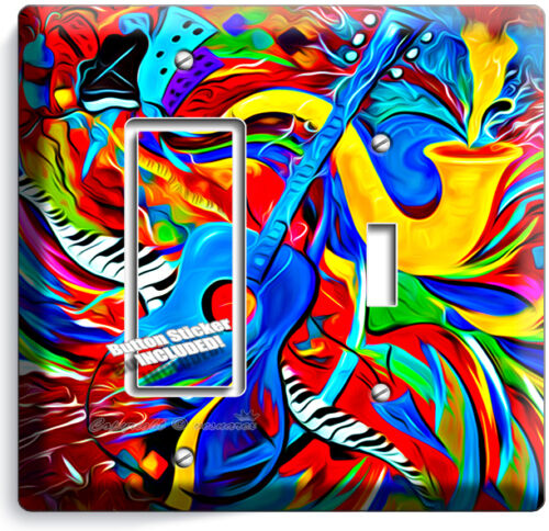 COLORFUL GUITAR SAXOFONE JAZ MUSIC ABSTRACT LIGHT SWITCH PLATE OUTLET WALL COVER