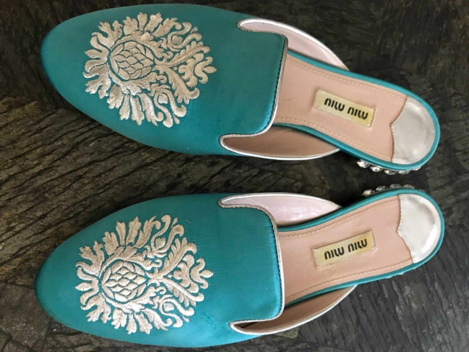 Miu Miu Prada Mules Flat Pantolleten Loafers Gr.36,5
