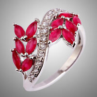 Marquise Cut Ruby & White Topaz Gemstone Silver Ring Size N P R T Charming Lover