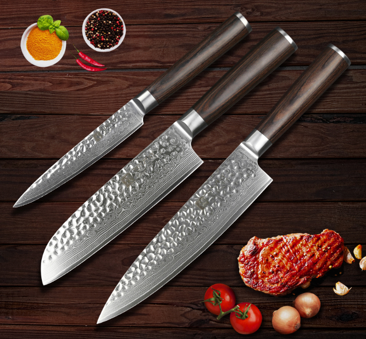 3Pcs Kitchen Knife Set 67 Layers Damascus Steel Chef Cleaver Utility Santoku Cut