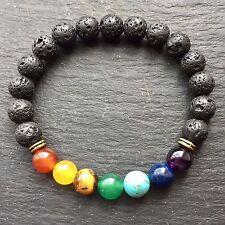 Beaded Black Lava Stone Chakra Bracelet Elasticated Unisex Jewellery UK