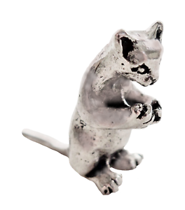 Hand Made in Cornwall Kitten Standing Tiny Pewter Ornament