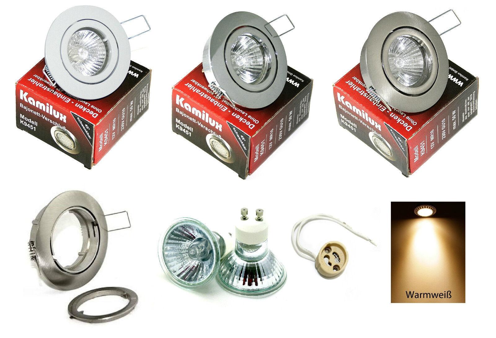 Halogen Einbaulampe Lana für 230V  20 , 35 , 50W schwenkbar inkl. GU10 Sockel