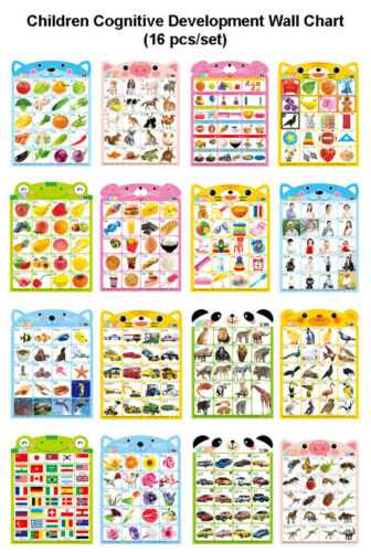 Children Preschool Cognitive Education Chinese Learning Wall Charts Poster 16pcs