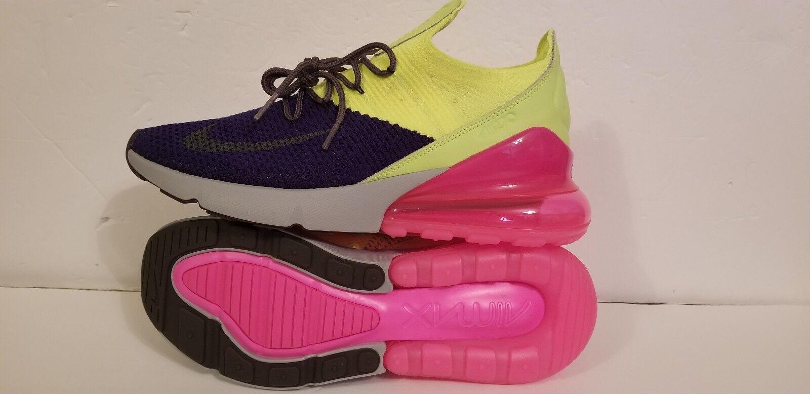 New Nike Air Max 270 Flyknit Regency Purple Grey Volt AO1023-501 Men's Size 10.5