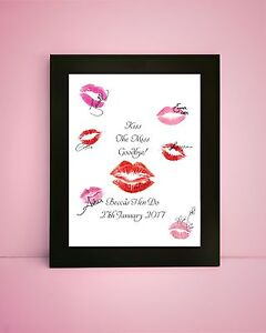 Hen Party Keepsake Game A4 or A3 size PERSONALISED Kiss The Miss Goodbye!