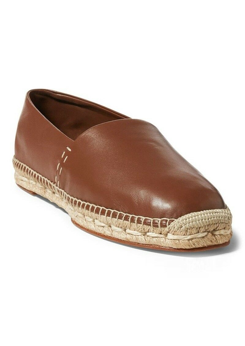 Ralph Lauren Collection Tan Nappa Leather Calean Espadrilles Slip Ons New