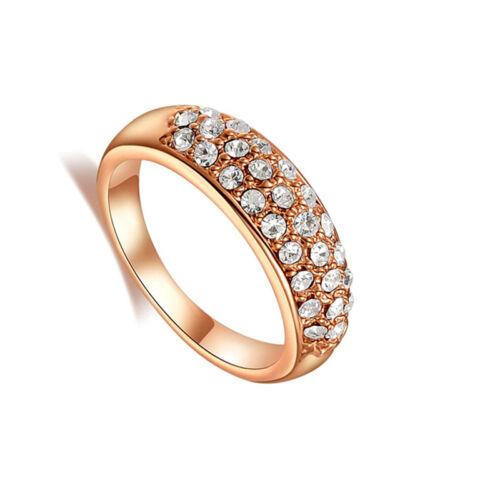 Moda Cristal Estrás Anillo de compromiso alianza de boda parejas joyas Z