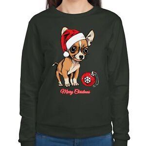 1tee Womens Puppy Chihuahua Wearing Santa S Hat Cute Christmas Jumper Ebay