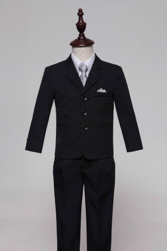 Baby Boy Black//Silver Formal Page Suit Waistcoat Suits Wedding Tuxedo Function