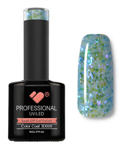 3D-008-VB-Line-Blue-with-Green-Glitter-UV-LED-soak-off-gel-nail-polish